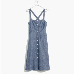 Madewell Brand Chambray Tank Button Front Dress